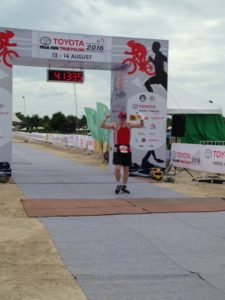Peter finishing the Olympic Triathlon in Hua Hin, Thailand in under 4 hours